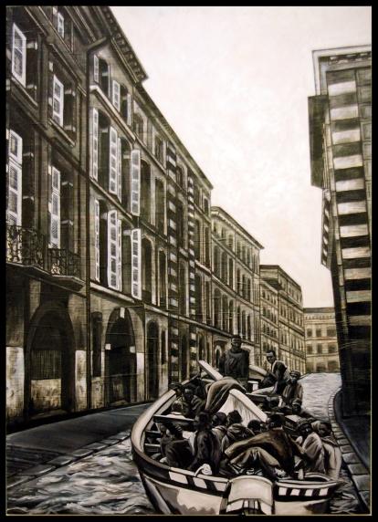ÉGALITÉ: La patera/ 153 x 110 cm / technique mixte sur panneau
