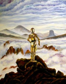 C3PO dans una mer de nuages / 92 x 73 cm