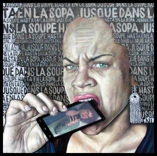 Le regard actuel / 2016 / Huile et collage sur toile / 100 x 100 cm