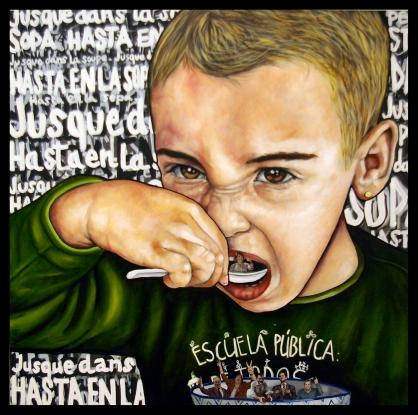 Les politiciens / 2015 / huile et collage sur toile / 100 x 100 cm