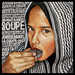 La immigration / 2015 / huile et collage sur toile / 100 x 100 cm