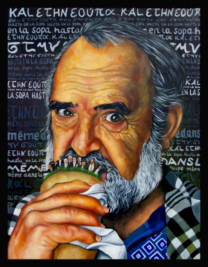 La Grèce / 2013 / 80 x 60 cm / huile et collage sur toile