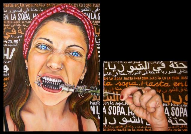 La syrie/ 2012 / 50 x 60 + 80 x 60 cm / huile et collage sur toile