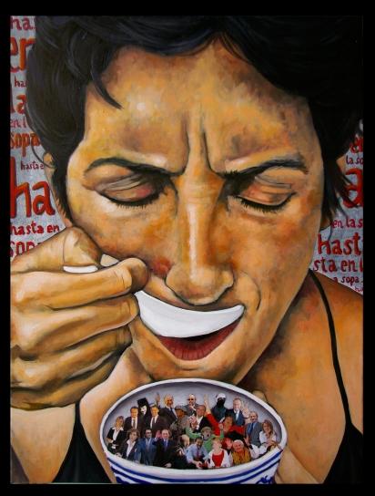 L'Espagne / 2012/ 80 x 60 cm / huile et collage sur toile