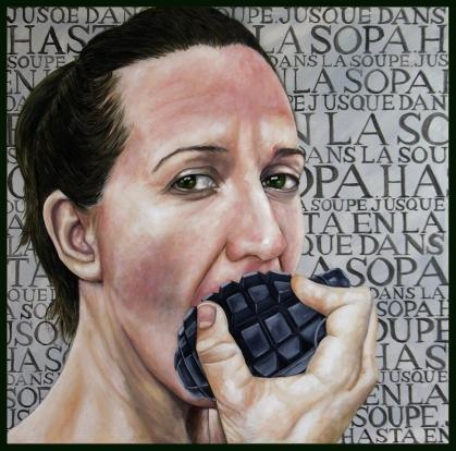 La guerre / 2017 / huile et acrylique sur toile / 100 x 100 cm
