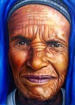 Mujer etíope / 122 x 87 cm / huile sur panneau