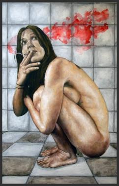 La fumée rouge/huile et acrylique sur panneau/125 x 80 cm