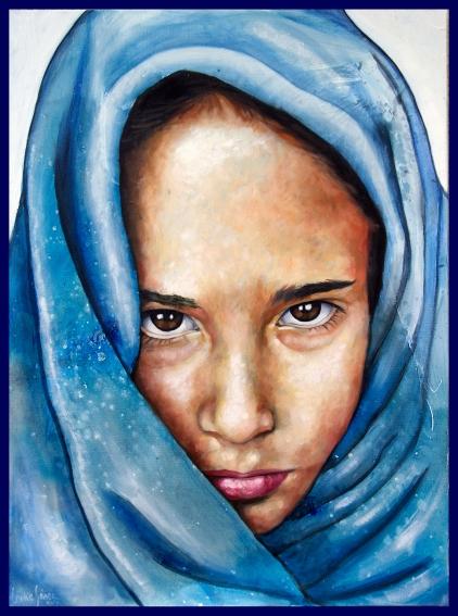 Je suis népalaise/huile sur toile/80 x 60 cm