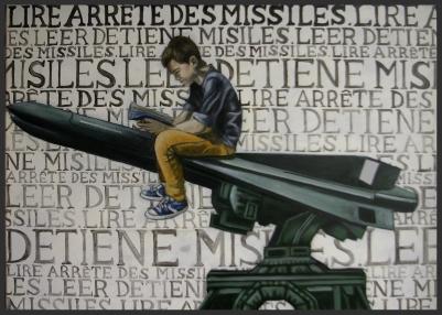 Lire arrête des missiles/huiles ur toile/50 x 70 cm