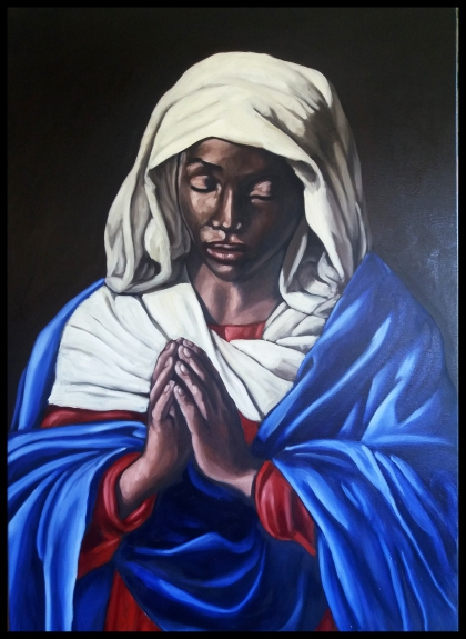 Black virgin in prayer/huile sur toile/100 x 70 cm