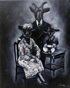 Famille/huiles ur toile/27 x 22 cm